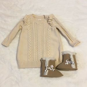 Baby Gap Cable Sweater Dress and Boots